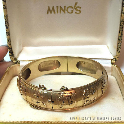 MING'S HAWAII ZODIAC 14K YELLOW GOLD HINGED BANGLE BRACELET w/ box ULTRA RARE !