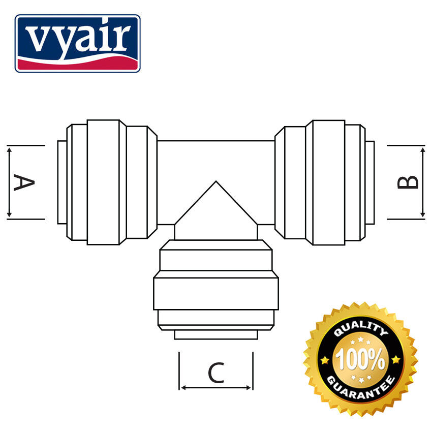 """Packs of 3 9 12. 6 VYAIR Tube Stem Elbow Union Connector: 1//4/"""" Push-fit"""