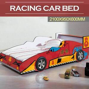 New Kids Children Single Racing Car Bed Red Plastic Wheels Slate Mordialloc Kingston Area Preview
