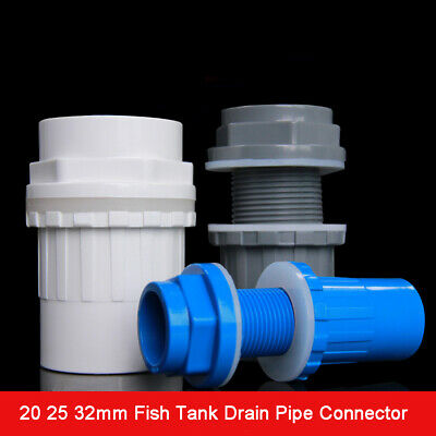 PVC ID 20 25 32 40 50mm Fish Tank Drain Pipe Connector Water Tank Joint Fittings