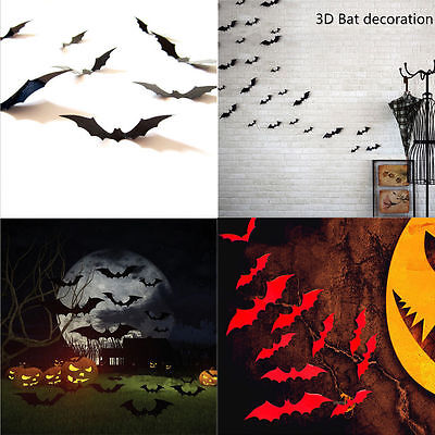 24Pc Black Red 3D DIY PVC Scary Bat Wall Sticker Decal Halloween Festival Decor