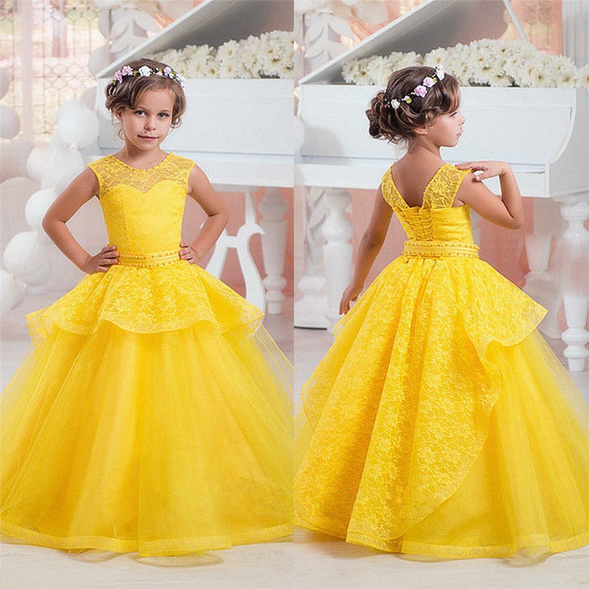 Gold Lace Kid Princess Gowns Flower Girl Dress Wedding Party ...