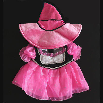 Build-A-Bear PINK & BLACK WITCH COSTUME HAT WAND Teddy Halloween Clothes Outfit