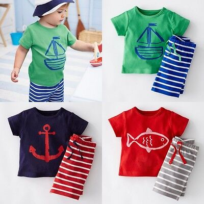 Hot Summer Toddler Baby Kids Boy Tops T-shirt Pants Outfits Set Clothes US Stock