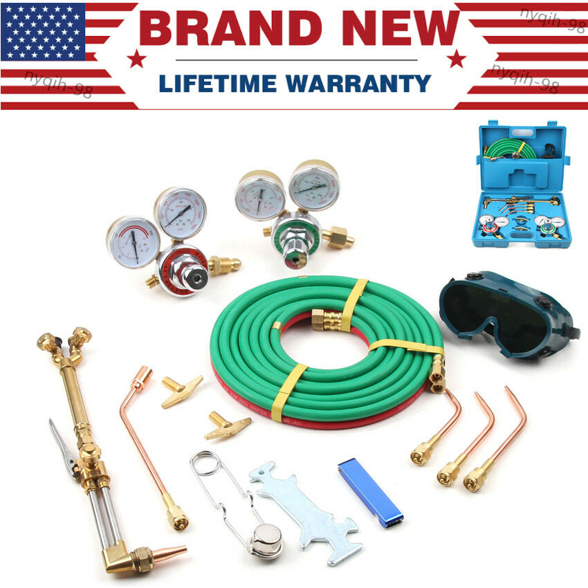 Portable Oxy & Acetylene Gas Burning Cutting Complete Kit - Welding Tools W/ Box