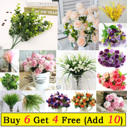 Home Decoration - Artificial Silk Flowers Bunch for Wedding Party Home Outdoor Bouquet Decoration