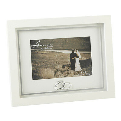 Cream Wedding Photo Frame With Crystal Rings - 6\