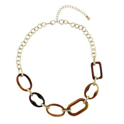 NEW Classic Brown Resin Imitation Tortoiseshell Oval Link Chain Collar Necklace