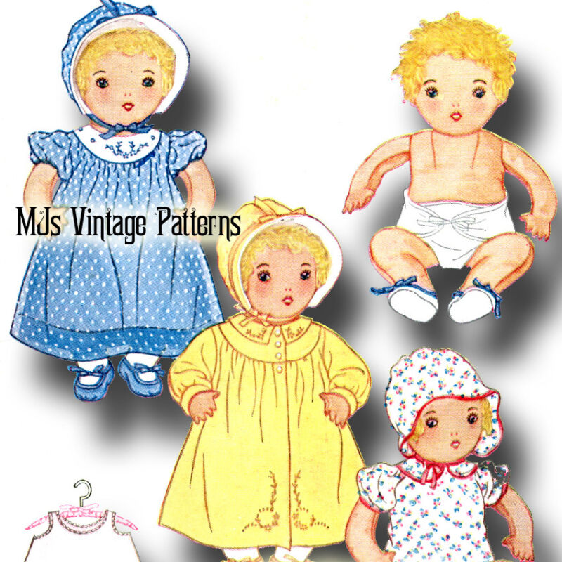 Cuddly Stuffed Baby Doll + Clothing Vintage Pattern