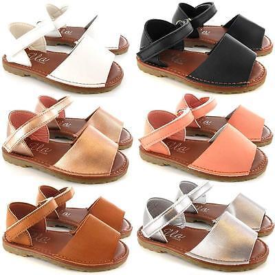 New Girls Infants Fancy Menorcan Spanish Sandals Summer Beach Party Shoes Size - Fancy Girls Sandals
