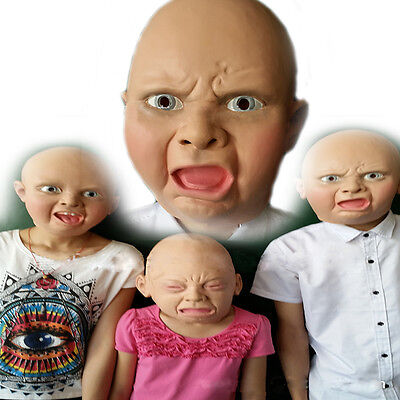 Angry/Happy/Cry Baby Full Head Face Latex Scary Mask Halloween Party Cosplay Hot - Scary Happy Halloween Font