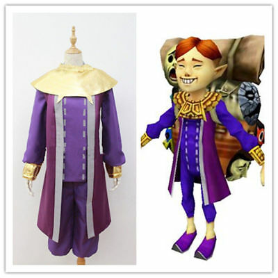 legend of zelda majora's mask happy mask salesman Cosplay Costume purple - Happy Cosplay Costume