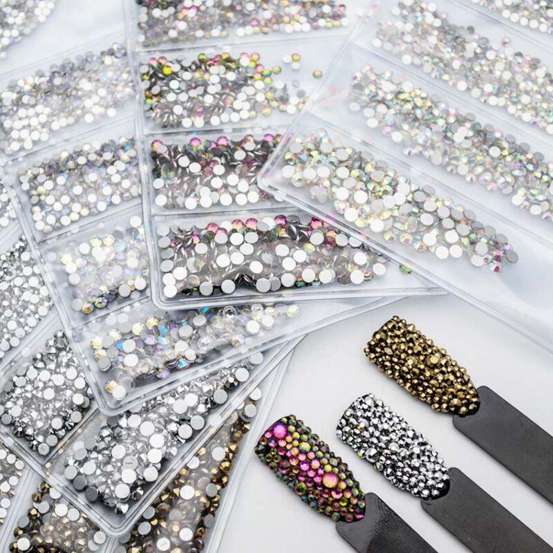 1440pcs Multi-size Nail Art  Rhinestones Crystals Nails Design Decorations Gems