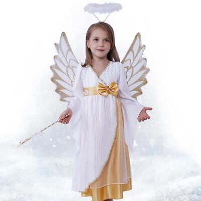 Kids Girls Angel Halloween Costume Children's Day Fancy Dress Full Set With Wing