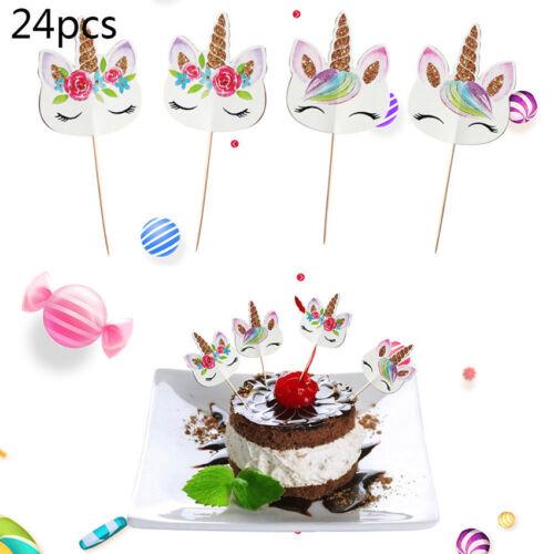 24PCS Unicorn Party Cupcake Topper Cake Picks Birthday Party Baby Shower Decor