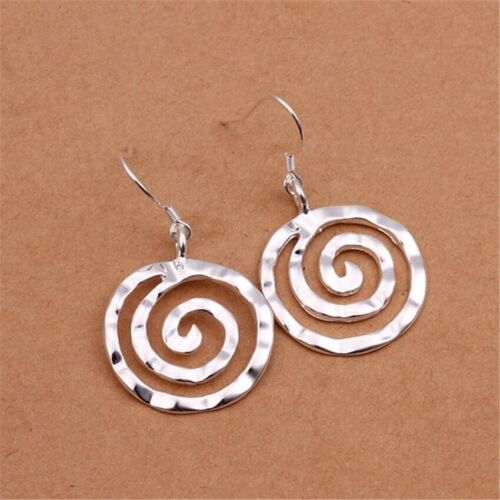 925 Sterling Silver Circle Swirl Round Spiral Dangle Drop Hook Earrings E56 Earrings