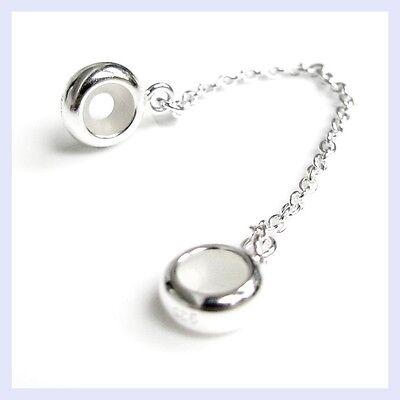 925 Str Silver Round Rubber Stopper Safety Chain Bead F  European Charm Bracelet