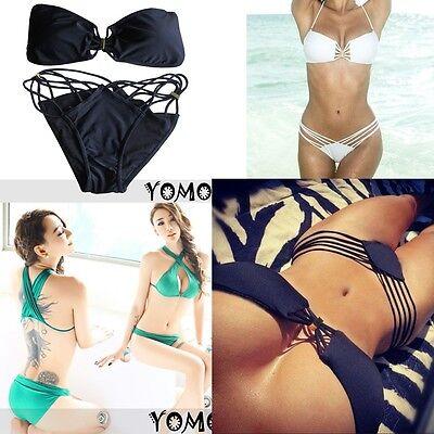 2pcs SEXY 3 clolrs Padded Fringe Strapless Dolly Bikini Swimwear Bathing Suit