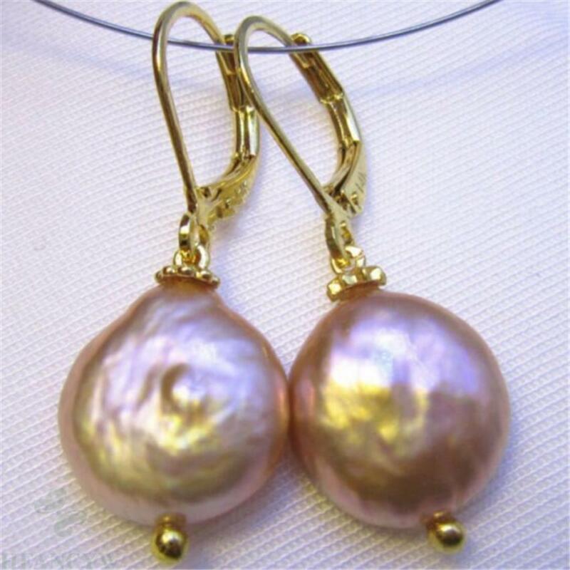 14-15mm Pink Baroque Pearl Earrings 18K hook Gift Jewelry dangler women hang