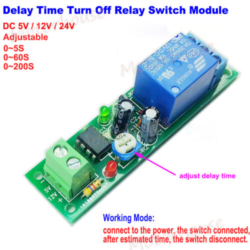 DC 5V 12V 24V Adjustable Time Timing Delay Turn OFF Switch Timer Relay Module