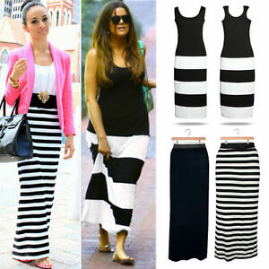 Summer-New-Evening-Cocktail-Party-Bodycon-Women-Ladies-Stripe-Long-Maxi-Dress