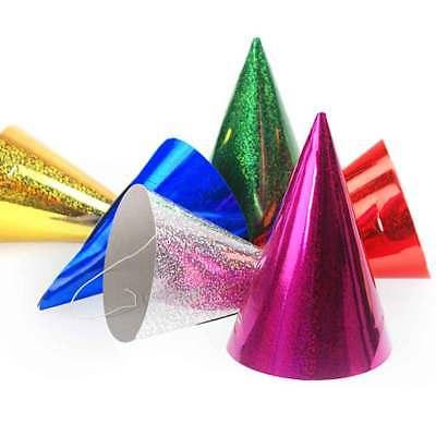 Glänzende Party-Hütchen Holografie Metallic-Glanz Accessoire Silvester Karneval