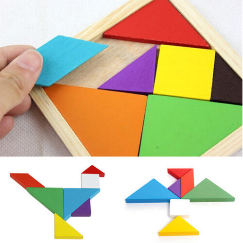 7 Piece Rainbow Color Wooden Tangram DIY Wood Puzzle Kids Brain Educational Toy