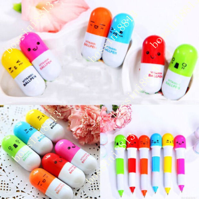 Newest 6PCs Smiling Face Vitamin Capsule Ballpen Pill Ball Point Novelty Pens BO