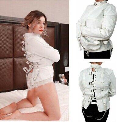 White Asylum Straight Jacket Costume Body Harness Restraint Armbinder Unisex  - Straight Jacket Costumes