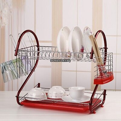Home Supply Kitchen holder 2 Tier Stainless Steel Dish Drainer Drying Rack Red