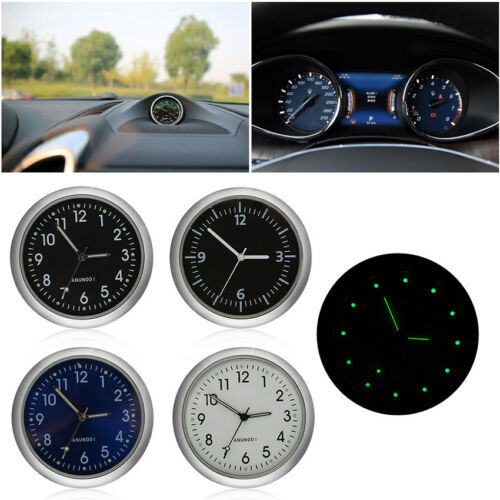 Mini Luminous Car Auto Air Vent Stick-On Clock Interior Quartz Analog Watch Gift