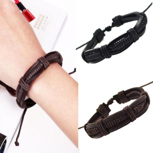 Hot Adjustable Men's Braided Genuine Leather Cuff Bangle Bracelet Wristband Gift