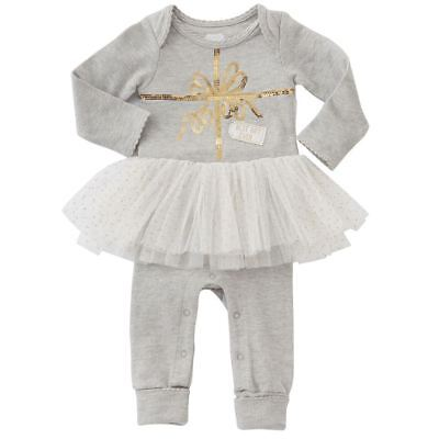 NWT Mud Pie Best Gift Ever Baby Girls Christmas Tutu Romper One Piece Outfit