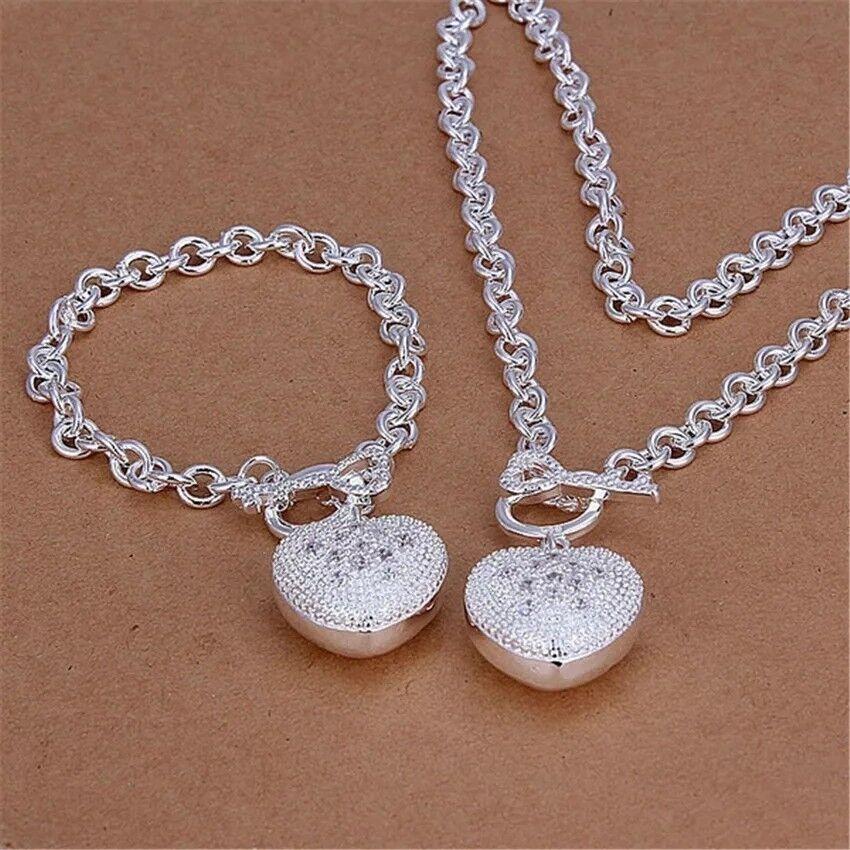 Schmuck Set Halskette mit ❤️ Anhänger Armreif mit ❤️ Anhänger 925 Silber plt NEU