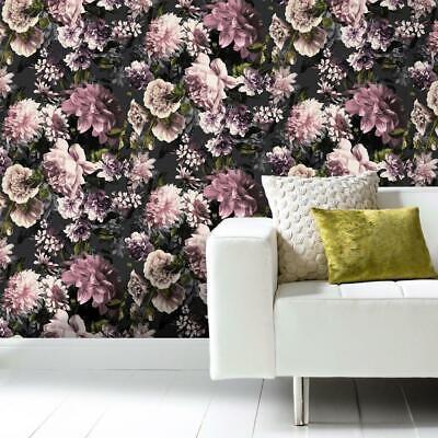 Secret Garden Pink and Black Floral Wallpaper by Grandeco Life -