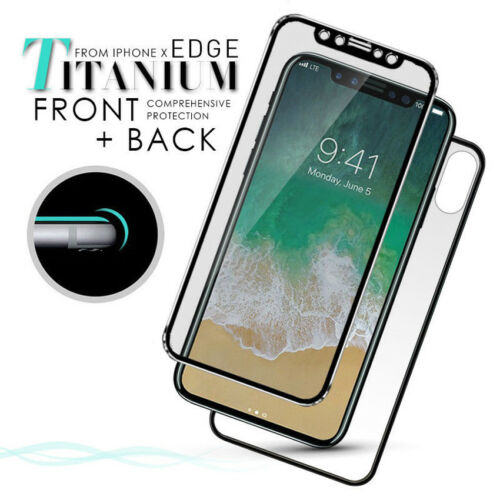 Front+Back Full Cover Titanium Tempered Glass Screen Protector for iPhone X 8 7