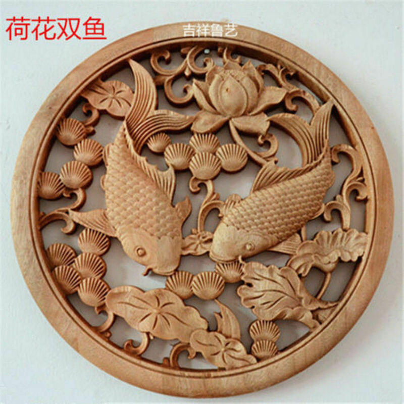 Chinese Hand Carved 荷花双鱼 Statue camphor wood round plate wall sculpture  D