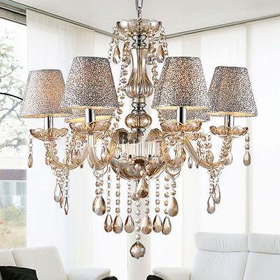 Modern Crystal Ceiling Lighting Chandelier 6 Light Lamp Pendant Fixture Clear SE