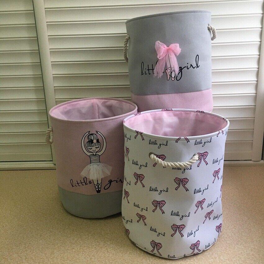 Laundry Bucket Kids Bedroom Storage Basket Pink Bow Ballet G