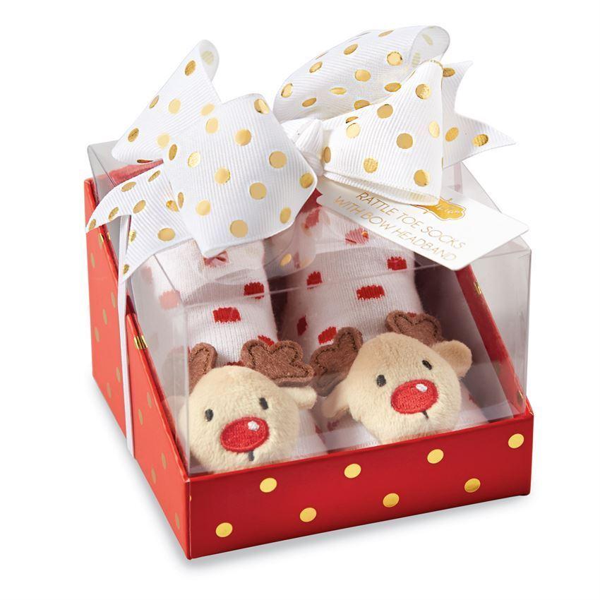 Mud Pie Baby Girl Christmas Rattle Toe Sock & Headband Set