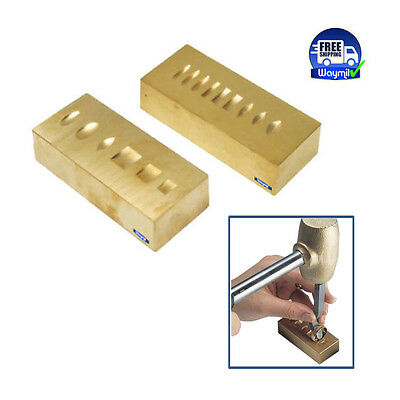 RING STAMPING / MARKING BRASS ANVIL TWO SIDED, GROOVED BLOCK, JEWELRY METAL TOOL