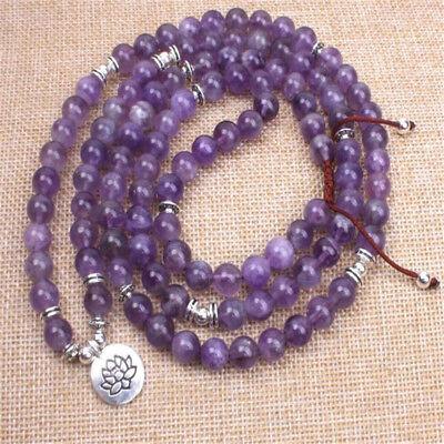 Amethyst 8mm108 beads necklace natural new Tassel MONK Healing mala Chakas - Monk Beads