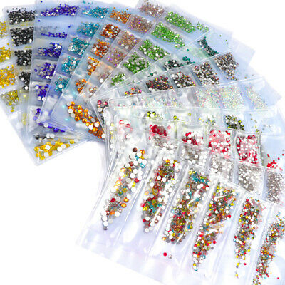 1728pcs Nail Art Rhinestones Glitter Diamond Crystal Gems 3D Tips DIY US STOCK