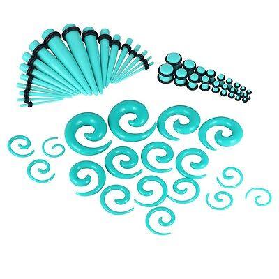 54pc Set Turquoise Acrylic Ear Gauge Taper Plug Stretching Kit Stretcher - Gauge Plug Earring