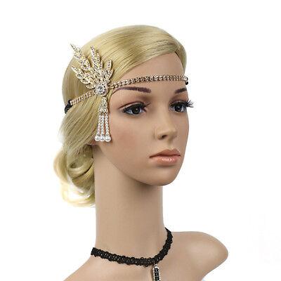 Great Gatsby Women Headpiece Vintage Pearl Headband Flapper Stylish Fashionable
