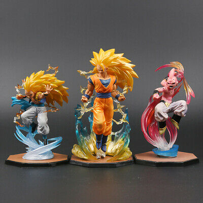 "Dragon Ball Z 7 "" Super SaiYan 3 Goku & Gotens & Buu PVC Figure Toy Xmas Gift"