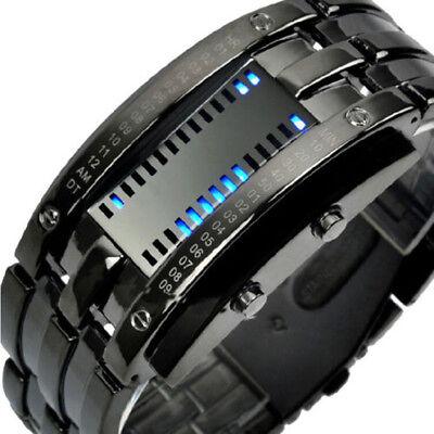 Mens Waterproof Stainless Steel Band Led Digital Binary Date Sport Wrist Watch