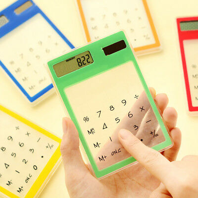 Portable Thin Mini Transparent LCD Solar Powered Calculator Touch Screen 8 Digit