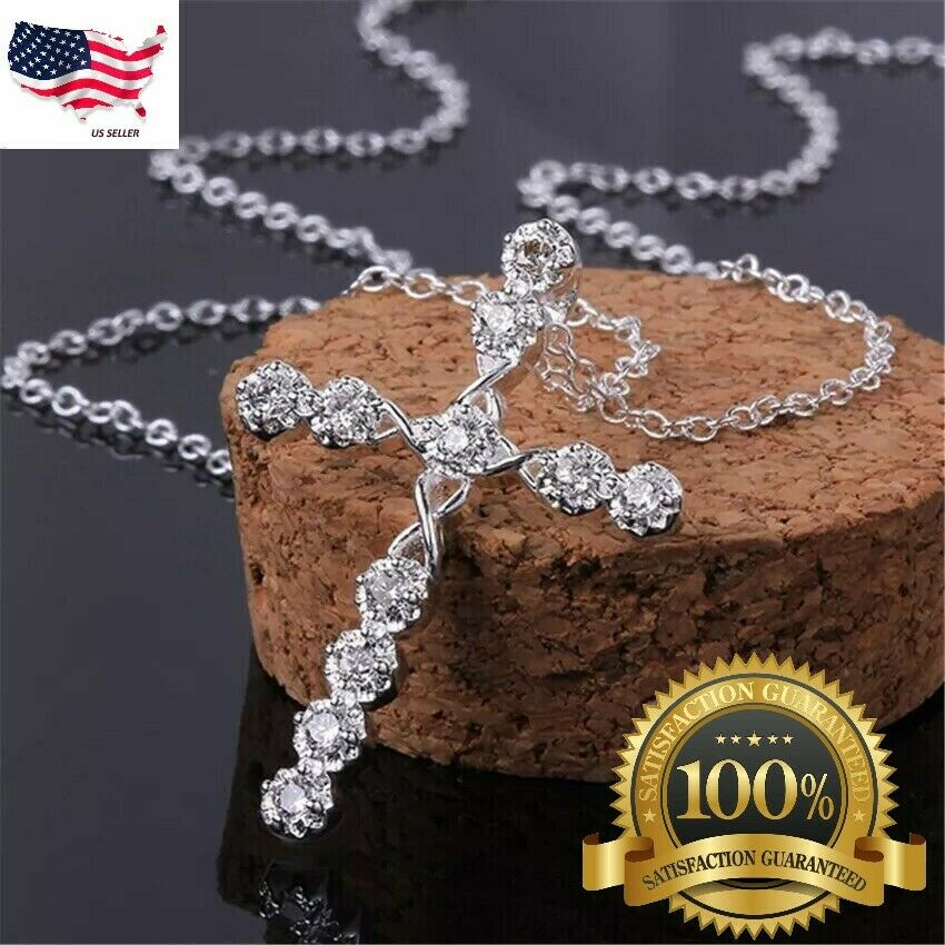 "Jewellery - Women's 925 Sterling Silver Cubic CZ Crystal Cross Pendant Necklace 18"" N4"