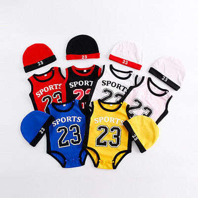JORDAN 23 ROMPER +HAT Newborn Baby Boy Girl Kids Romper Body Suit Clothes Outfit (Kids Jordan Clothes)